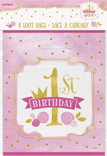 Pink & Gold 1st Birthday Loot Bags (8)